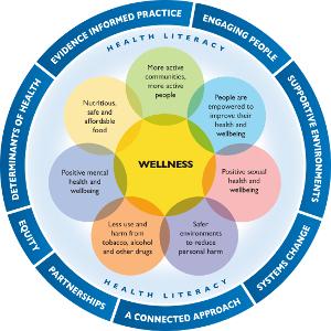 Working in Health Promoting Ways Diagram. This content is explained in the Working in Health Promoting Ways webpage