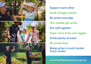 Postcard - Hawks players and community members.  Also contains the following messages: support each other, small changes matter, be active everyday, get outside get active, eat well together, enjoy more fruits and veggies, drink plenty of water, be smoke-free and being active is much harder if you smoke.