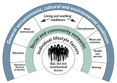 Inner circle, Age, sex and constitutional factors Larger circle, Individual lifestyle factors Larger circle, Social and community networks Larger circle, Living and working conditions made up of Agriculture and food production, Education, Work environment, Unemployment, Water and sanitation, Health care services and Housing Largest circle, socioeconomic, cultural and environmental conditions