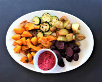 Roasted vegetables and a beetroot dip platter