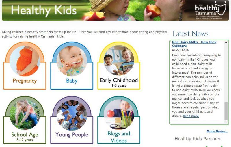 Screenshot of front of Healthy Kids Tasmania website