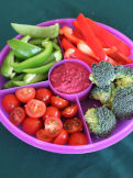 Chopped raw vegetables and dip platter